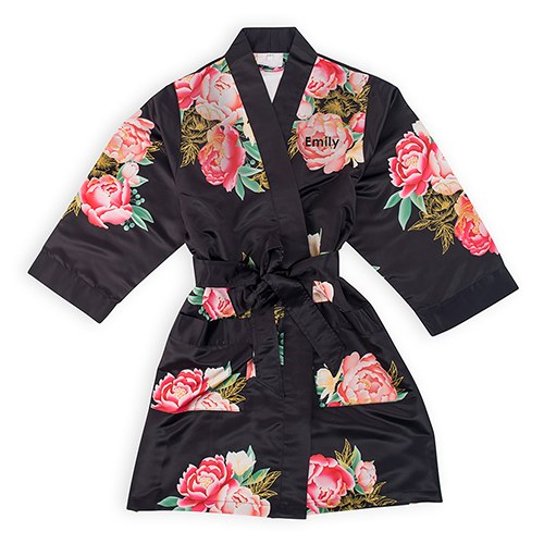 Premium Blissful Blooms Silky Kimono Robe With Pockets - Black