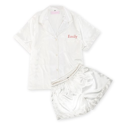 0d72ec2778 Women s Personalized Satin Pajama Sleepwear Set - White - The Knot Shop