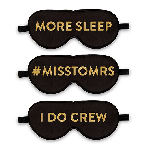 Personalized Satin Eye Mask with Metallic Print - Black