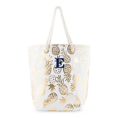 Gold Pineapple Print Canvas Tote