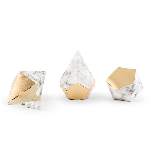 Modern Geo Marble And Gold Party Favor Boxes