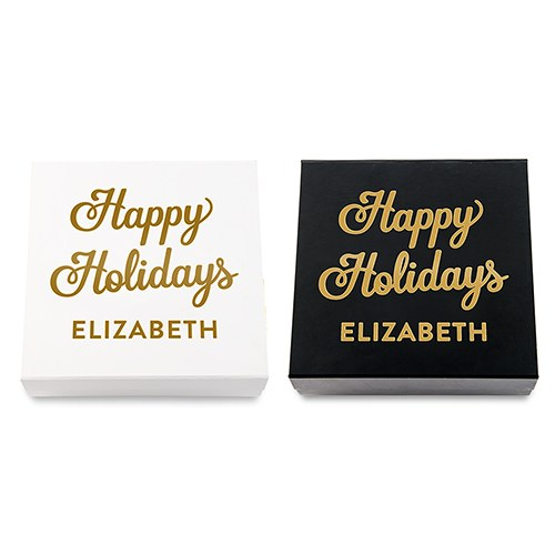 Premium Gift Box - Happy Holidays in Metallic Gold