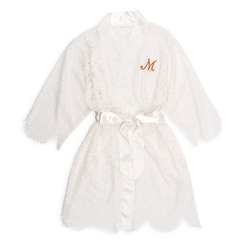 Personalised Embroidered Lace Bridal Wedding Robe- White - Confetti.co.uk 25238abfe