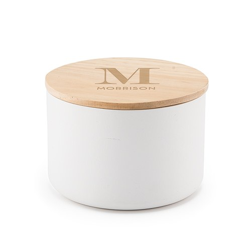 Round Wooden Keepsake Box With Lid - Modern Serif Initial Etching