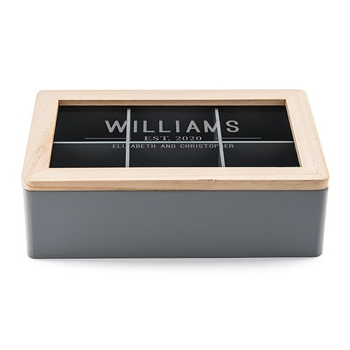 Wooden Keepsake Box With Glass Lid - Bistro Bliss Text