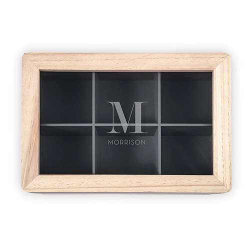 Wooden Keepsake Box With Glass Lid - Initial Monogram
