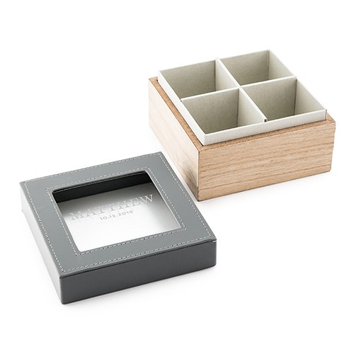 Wood and Faux Leather Keepsake Box With Glass Lid - Classic Text