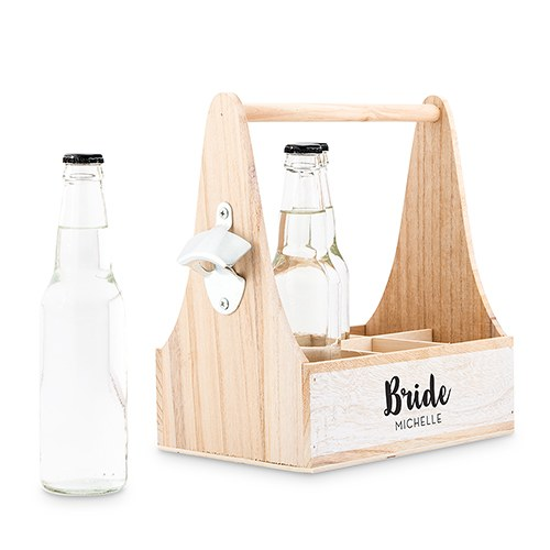 Wooden Bottle Caddy with Opener - For the Bride