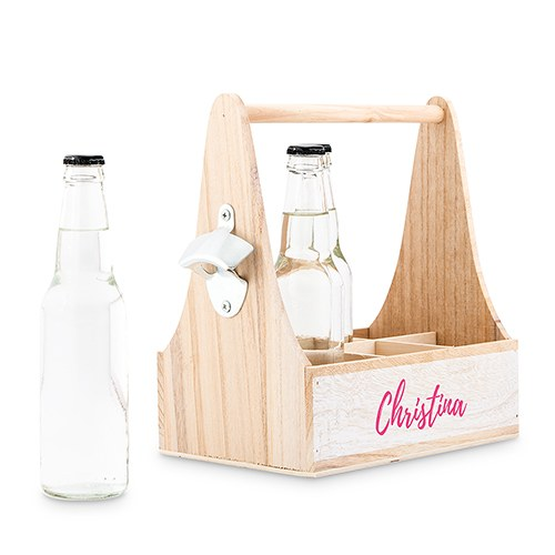 Personalized Wooden Bottle Caddy with Opener - Script