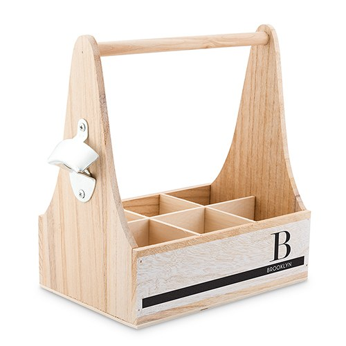 Personalized Wooden Bottle Caddy with Opener-Off-set Initial