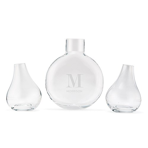 Modern Wedding Sand Ceremony Vase Set - Modern Serif Initial Etching