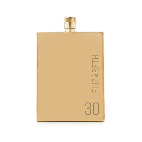Personalized Gold Stainless Steel Hip Flask – Vertical Monogram and Text Engraving