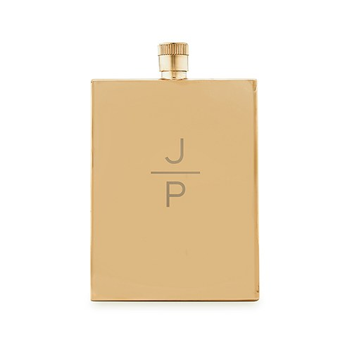 Personalized Gold Stainless Steel Hip Flask – Stacked Monogram Engraving