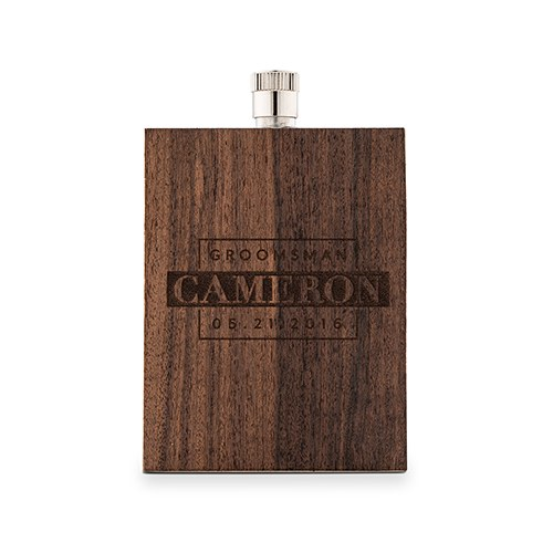Personalized Rustic Wood Wrapped Stainless Steel Hip Flask – Groomsman Monogram Print