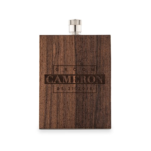 Personalized Rustic Wood Wrapped Stainless Steel Hip Flask – Groom Monogram Print