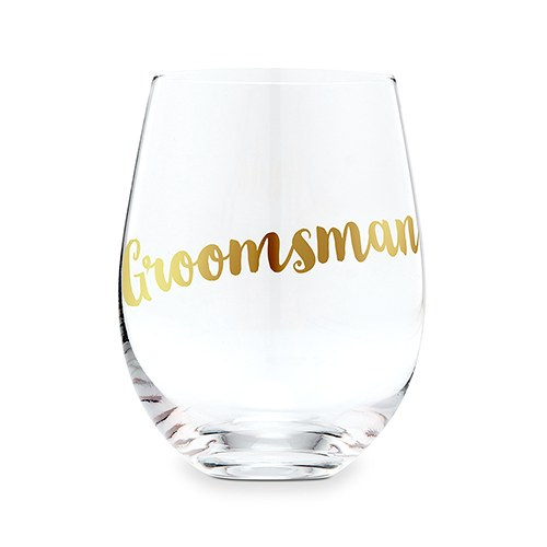 Stemless Toasting Wine Glass Gift for Wedding Party - Groomsman