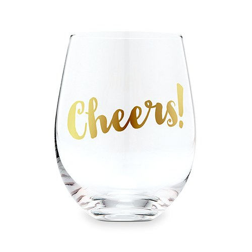 Stemless Toasting Wine Glass Gift for Wedding Party - Cheers