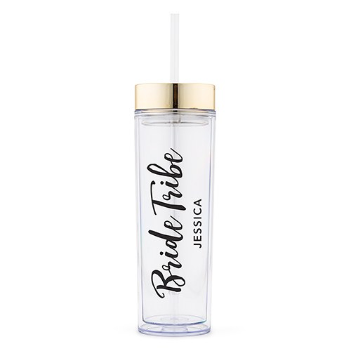 Personalized Plastic Drink Tumbler – Bride Tribe Print