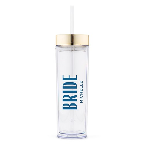 Personalized Plastic Drink Tumbler – Modern Bride Print