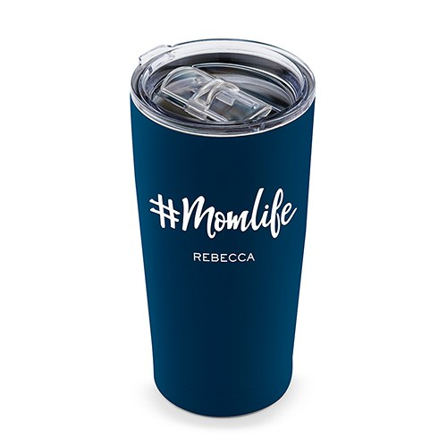 Personalized Stainless Steel Insulated Travel Mug - #Momlife Print
