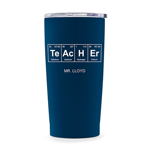 Personalized Stainless Steel Insulated Travel Mug – Periodic Table Teacher Print