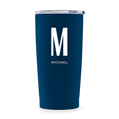 Personalized Stainless Steel Insulated Travel Mug – Sans Serif Monogram Print