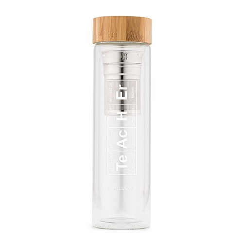 Glass Tea Infuser Travel Cup - Periodic Table Teacher Printing