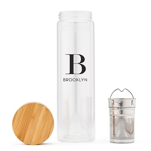 Glass Tea Infuser Travel Cup - Modern Serif Initial Printing