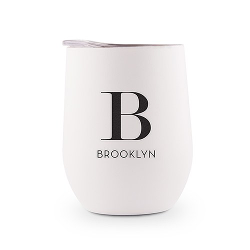 Personalized Stemless Travel Tumbler - Modern Serif Initial Printing