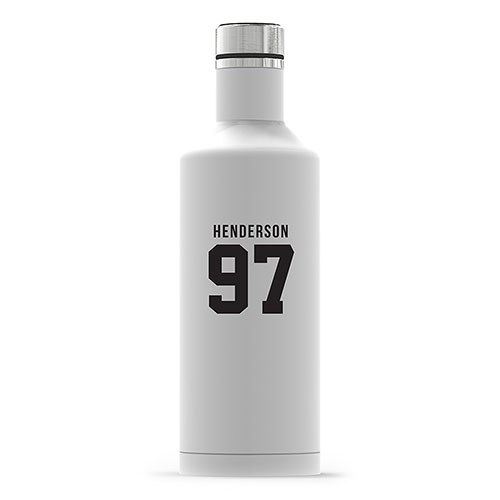 Personalized White Stainless Steel Insulated Water Bottle – Sports Jersey Print
