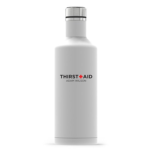 Personalized White Stainless Steel Insulated Water Bottle – Thirst Aid Print