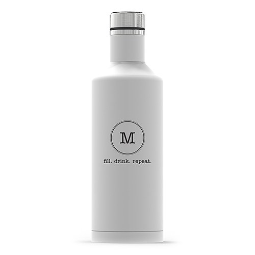 Personalized White Stainless Steel Insulated Water Bottle – Circle Monogram Print