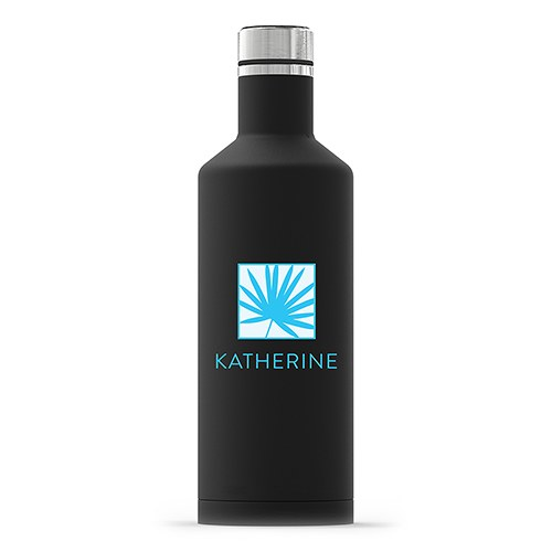 Insulated Water Bottle - Sleek Black - Summer Vibes Palm Leaf Printing