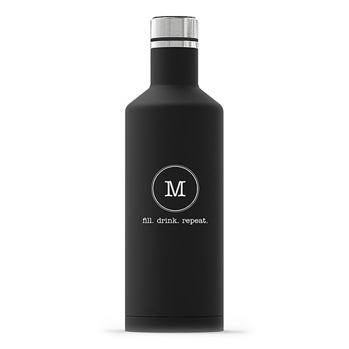 Personalized Black Stainless Steel Insulated Water Bottle – Circle Monogram Print