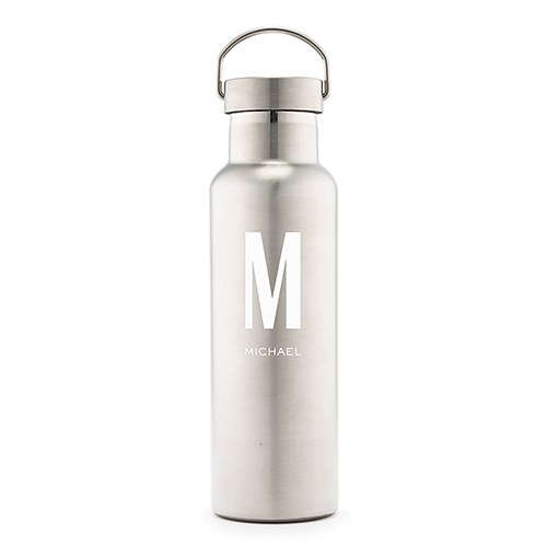 Personalized Chrome Water Bottle With Handle - Custom Monogram Print