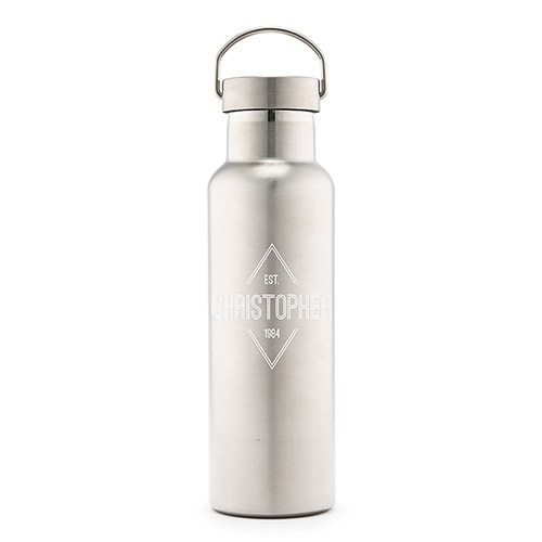 Personalized Chrome Water Bottle With Handle - Diamond Emblem Print