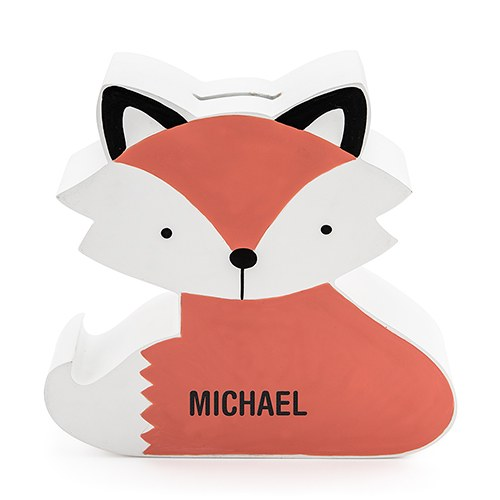 Personalized Coin Bank - Clever Fox