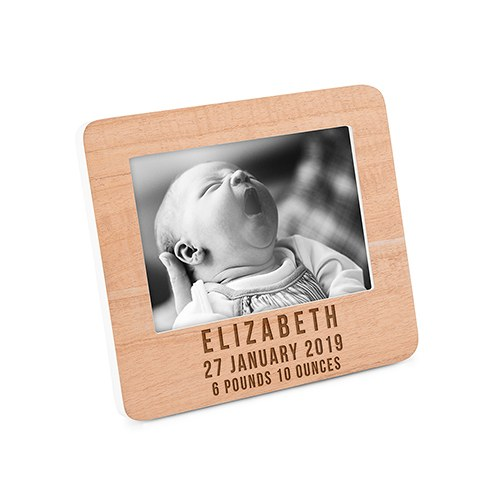 Custom Wooden Picture Frame with White Edge - Birth Date
