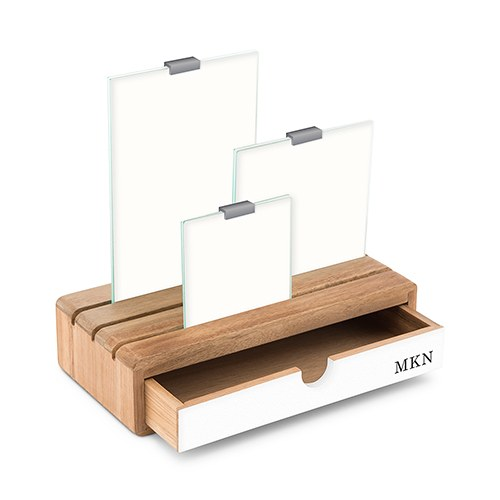 Personalized Glass Picture Frame and Wooden Desk Organizer - Classic Font