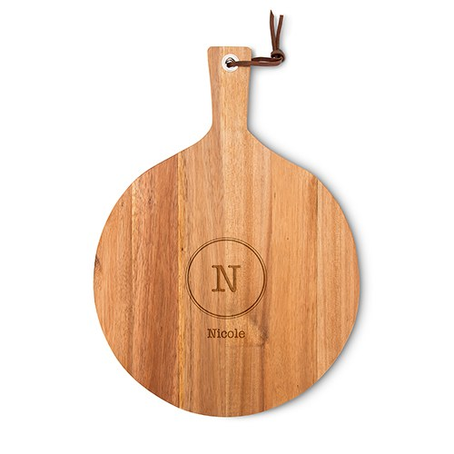 Personalized Round Wooden Cutting and Serving Board with Handle - Typewriter Monogram