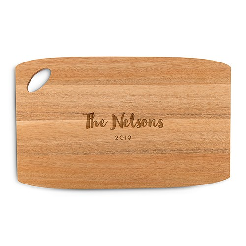 Personalized Wooden Cutting and Serving Board with Oval Handle - Bold Script