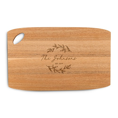 Personalized Wooden Cutting and Serving Board with Oval Handle - Signature Script