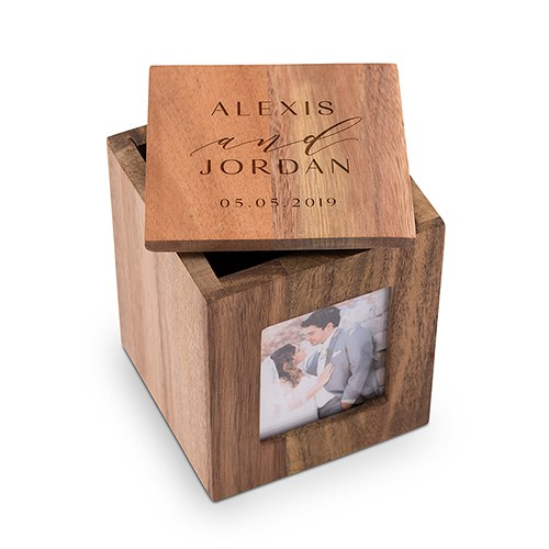 Custom Wood Keepsake Box With Frame Modern Couple Etching