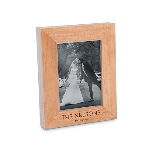 Custom Wooden Picture Frame with Grey Edges - Classic Font