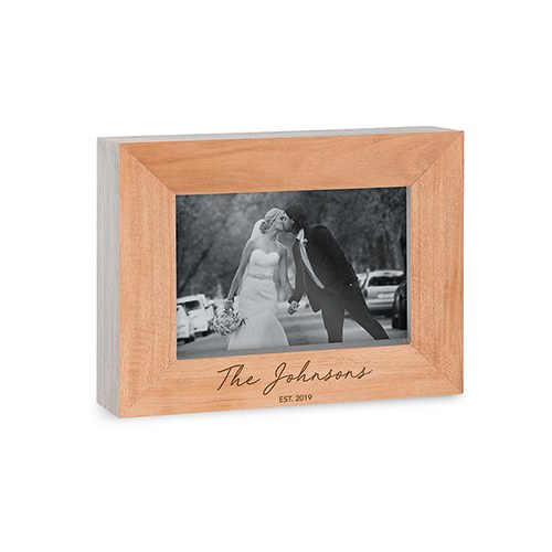 Custom Wooden Picture Frame with Grey Edges - Signature Script