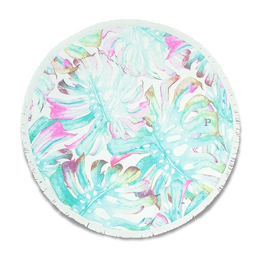 Round Beach Towel - Tropical Leaves