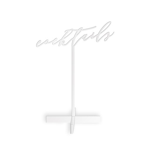 Cocktails Acrylic Sign - White