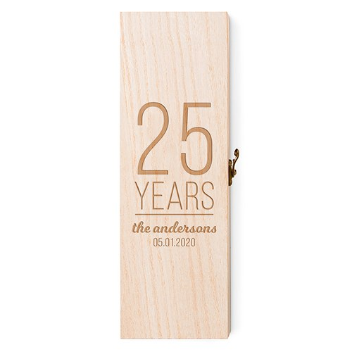 Personalized Wooden Wine Gift Box with Lid - Happy Anniversary