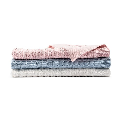 Personalized Cotton Cable Knit Baby Blanket - Heart
