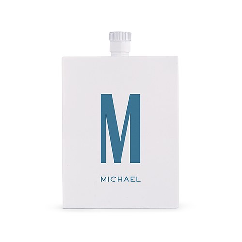 Personalized White Stainless Steel Hip Flask – Monogram Text Print